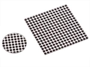 50-50 polka dot beamsplitters with round and square beam splitter shown